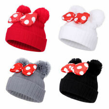 Cute Newborn Kids Baby Mickey Pom Bow Hat Winter Warm Crochet Knit Beanie Cap