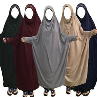 Arab Women Full Cover Overhead Abaya Muslim Prayer Burqa Hijab Jilbab Robe Dress