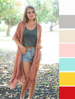 Long Maxi Duster Woven Boho Open Front Cardigan Kimono Casual Cover Up One Size