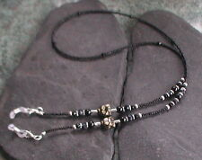 Black Glass Beads Czech Glass Cat Glasses Chain Glasses Holder