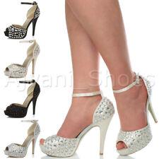 Donna tacco alto ingioiellati nozze sera punta aperta scarpe piattaforma taglia