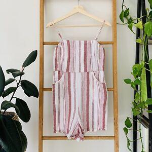 Glassons Womens Dark Pink White Striped Sleeveless Playsuit Romper Size 10