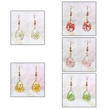 1Pair Transparent Crystal Ball Glass Dried Flower Drop Earrings Charm Jewelry