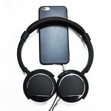 Black Wired Noise Cancelling Deep Bass Stereo Remote Major Headphones Over Ear