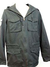 WESC Berrics Men's Hooded Military Jacket Coat Zip Front Black Epaulets NWT S