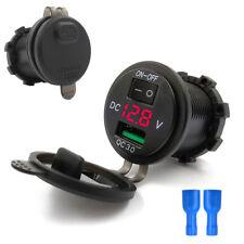 Universal 12V Motorrad USB Ladegerät GPS Handy Rot Spannungsanzeige mit Schalter