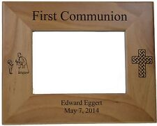 "First Communion (Boy) Picture Frame Personalized Holds 4"" by6"" Picture"