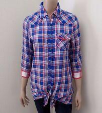 NWT Hollister Womens Plaid Button Down Shirt Size Medium Top Blouse Blue & Red