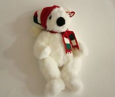1997 TY White  HOLIDAY BEAR Plush with Knit Hat and Scarf 5700 Retired