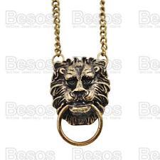 LION HEAD pendant NECKLACE vintage fashion ANTIQUE BRASS FINISH chain RETRO
