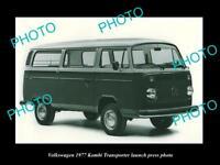 OLD LARGE HISTORIC PHOTO OF 1977 VOLKSWAGEN KOMBI TRANSPORTER LAUNCH PRESS PHOTO