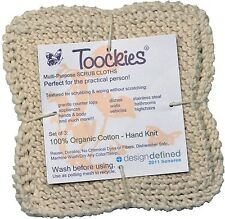 Toockies  Hand Knit Organic Cotton Scrub Cloths in Vintage Dish Cloth Pattern...