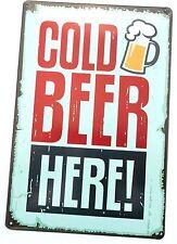 COLD BEER HERE METAL TIN SIGNS vintage cafe pub bar garage decor