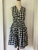 Dangerfield size 10 Black White Gingham Cactus Print button fit & flare dress