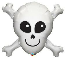 "Halloween Happy Skull & Crossbones Qualatex 32"" Suprafoil Balloon"