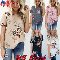 Women Summer Short Sleeve Floral Shirt Blouse Tops Loose T Shirt Casual Tee TOPS