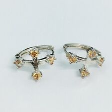 Champagne Round Cubic Zircon White Gold Plated Lady Girl Hoop Earrings
