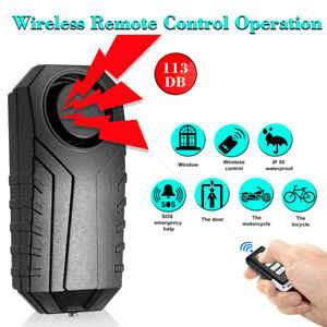113dB Anti-Theft Vibration Motorcycle Bicycle Security Bike Alarm Remote Durable