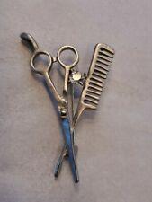 Adult / Kid New With Organza Bag Silver Scissors & Comb Rhinestone Brooch / Pin