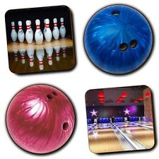 Bowling - Bowling Alley - Bowling Ball - Coasters - Set of 4 - Wooden - Gifts