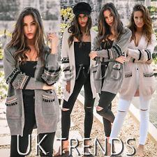 UK Womens Long Sleeves Knit Ladies Long Cardigan Coat Jackets Oversized Size6-14