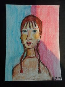 """ACEO Mini Art card 'GIRL WITH PIGTAILS' 2.5"""" x 3.5""""  watercolour by H.Dressekie"""