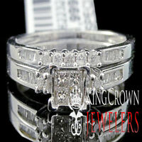 Ladies 10K White Gold Diamond Engagement Ring Princess Wedding Band Bridal Set