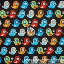 BonEful Fabric Cotton Quilt White Red Blue Spring Flower Bird Boy Dot Sale SCRAP