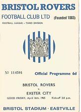 Football Programme - Bristol Rovers v Exeter City - Div 3 - 16/4/1965