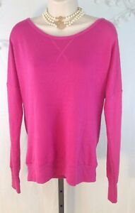 Hot Pink Light Sweater S Small Deep V Neck Back long sleeve ideology