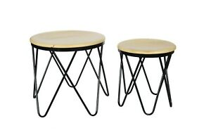 INDIAN HANDCRAFTED END TABLE SET OF 2, SIDE TABLE,ROUND TABLE SET OF 2,NATURAL T