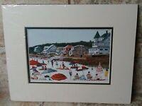 "R N Cohen Portland Maine Artist Signed Matted Print 8"" x 10"" Beach Scene"