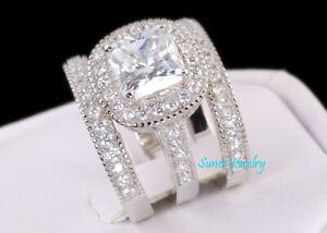 4.35ct Halo Cushion Cut 925 Sterling Silver Bridal Wedding Engagement Ring Set
