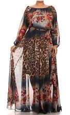 Plus Floral Leopard On Off Shoulder Chiffon Boho Maxi Dress Full Sweep Skirt