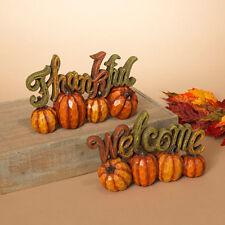 Gerson Fall Decor - Welcome & Thankful Pumpkin Display 2pc Set