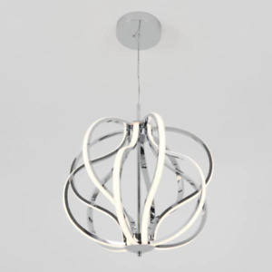 Circle Chrome Pendant Light Glam Modern Entryway Lobby Geometric Looped Spiral