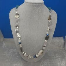 Shell- Cultured Pearl- Necklace -gemstones chipped - crystals -  blue cord