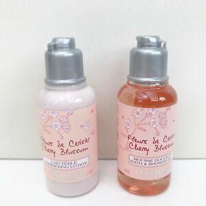 L'Occitane Cherry Blossom Bath & Shower Gel + Shimmering Lotion Travel Set, NEW