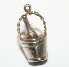 Bottle Chilling In Ice Bucket Sterling Silver Vintage Bracelet Charm 3.7g