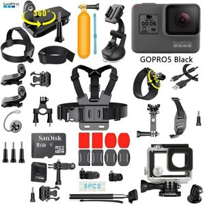 GoPro HERO 5 Black Edition Touch-Screen Camera + 40 PCS Sports Accessory Bundle