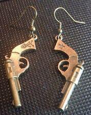 Betsey Johnson Brass InspIred Pistol Earrings With Skull & Crossbones & Stars