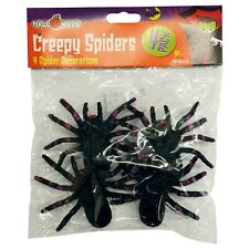4 x Large Black Creepy Halloween Spiders Decoration Fancy Dress Prop Toy Joke
