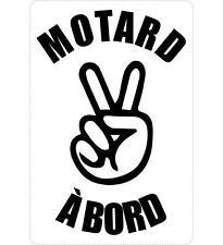 Autocollant sticker macbook laptop voiture moto motard a bord salut noir
