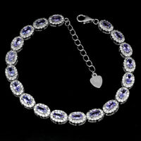 Unheated Oval Tanzanite 5x3mm Cz White Gold Plate 925 Sterling Silver Bracelet