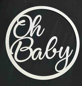 Oh Baby Circle Sign Wooden Ring Hoop Children Nursery bedroom decor