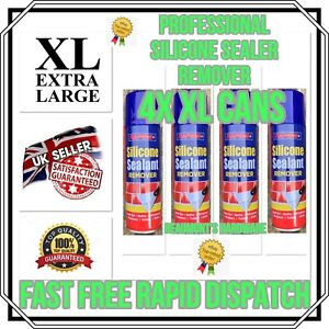 """4 x """"BIG CAN"""" Silicone Sealer Remover Spray Fast Acting Bathroom Kitchen 300ml"""