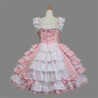 Maid Gothic Lolita Pink Fancy Dress Cosplay Halloween Custom Made