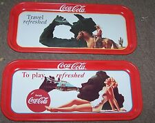 "TWO COCA COLA COKE METAL TRAY ""TRAVEL / PLAY REFRESHED"" W/ tray magnet SIGN"