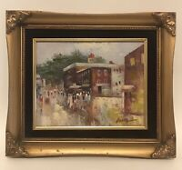Vintage Oil Painting Downtown Signed Impressionist People On Canvas