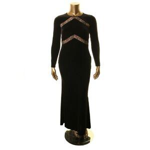 LAUREN RALPH LAUREN NEW Women's Black Lace Inset Velvet Ball Gown Dress 8 TEDO
